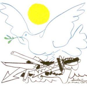 Picasso Karte Taube mit Waffen