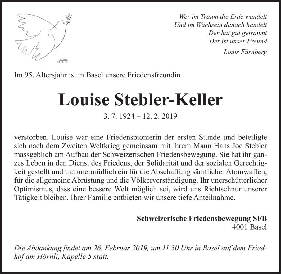 Todesanzeige Louise Stebler-Keller